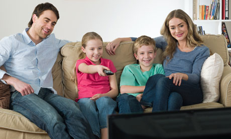A-family-watching-TV