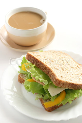 sandwich with cup of coffee
