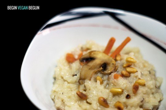 Risotto de champiñones y zanahoria